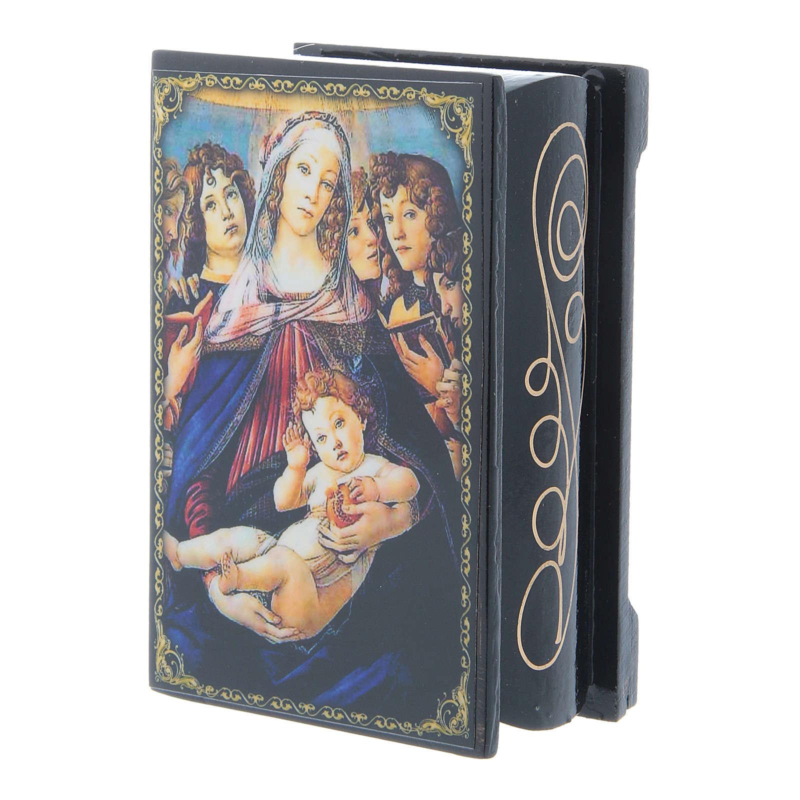 Lacca cartapesta russa La Madonna della melagrana 9X6 cm 4
