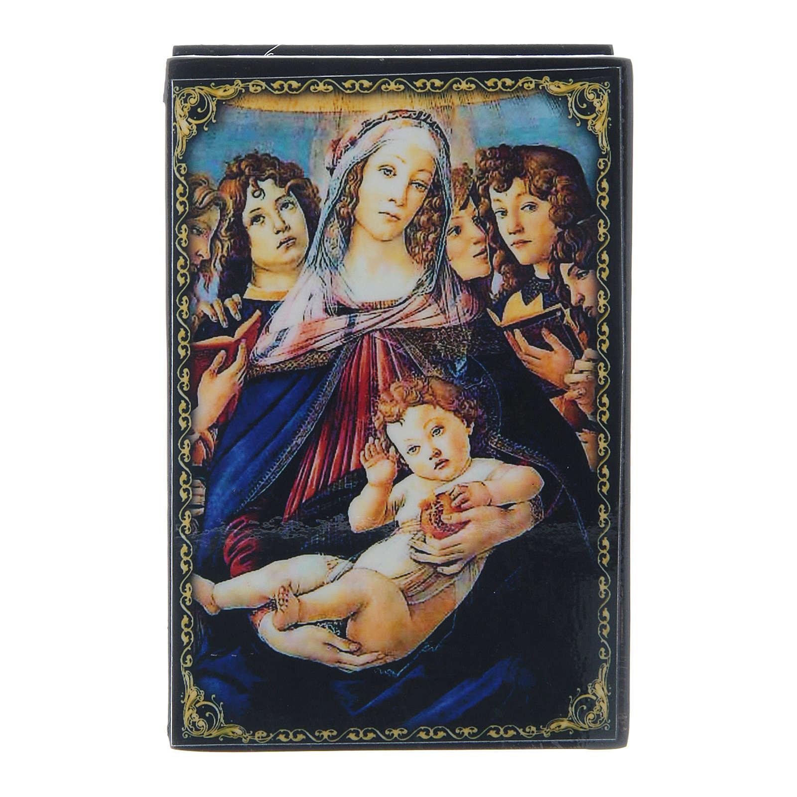 Caixinha papel-machê russa A Virgem e o Menino com seis anjos 9x6 cm 4
