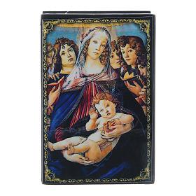 Caixinha papel-machê russa A Virgem e o Menino com seis anjos 9x6 cm s1