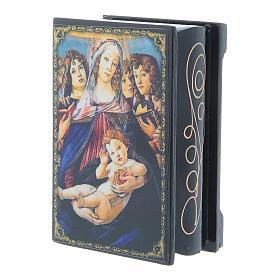 Caixinha papel-machê russa A Virgem e o Menino com seis anjos 9x6 cm s2
