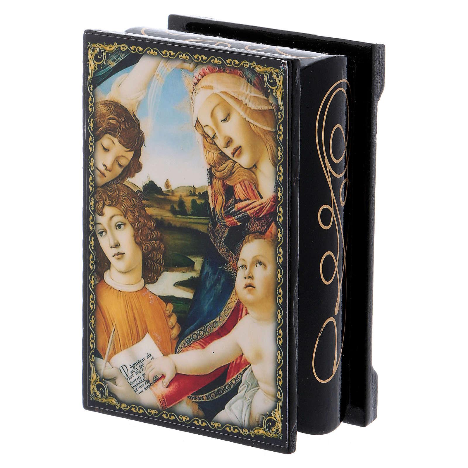 Scatoletta cartapesta russa La Madonna del Magnificat 9X6 cm 4