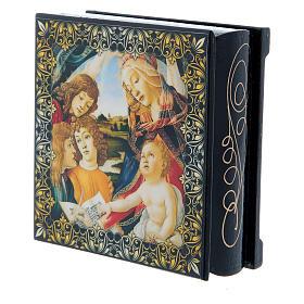 Scatoletta cartapesta russa La Madonna del Magnificat 9X6 cm s2