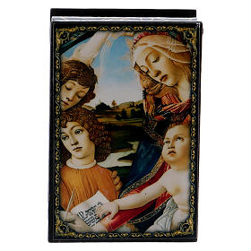Scatoletta cartapesta russa La Madonna del Magnificat 9X6 cm s1
