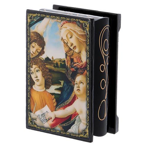 Scatoletta cartapesta russa La Madonna del Magnificat 9X6 cm 2