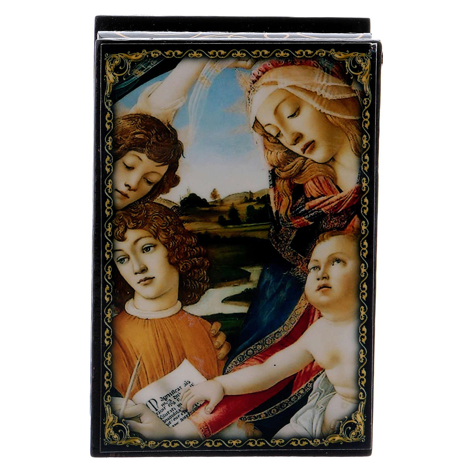Russian papier-mâché and lacquer box Madonna of the Magnificat 9x6 cm 4
