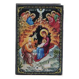 Caja laca rusa El Nacimiento de Jesús Cristo 9x6 cm s1