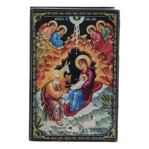Caixinha lacada russa O Nascimento de Jesus Cristo 9x6 cm 1