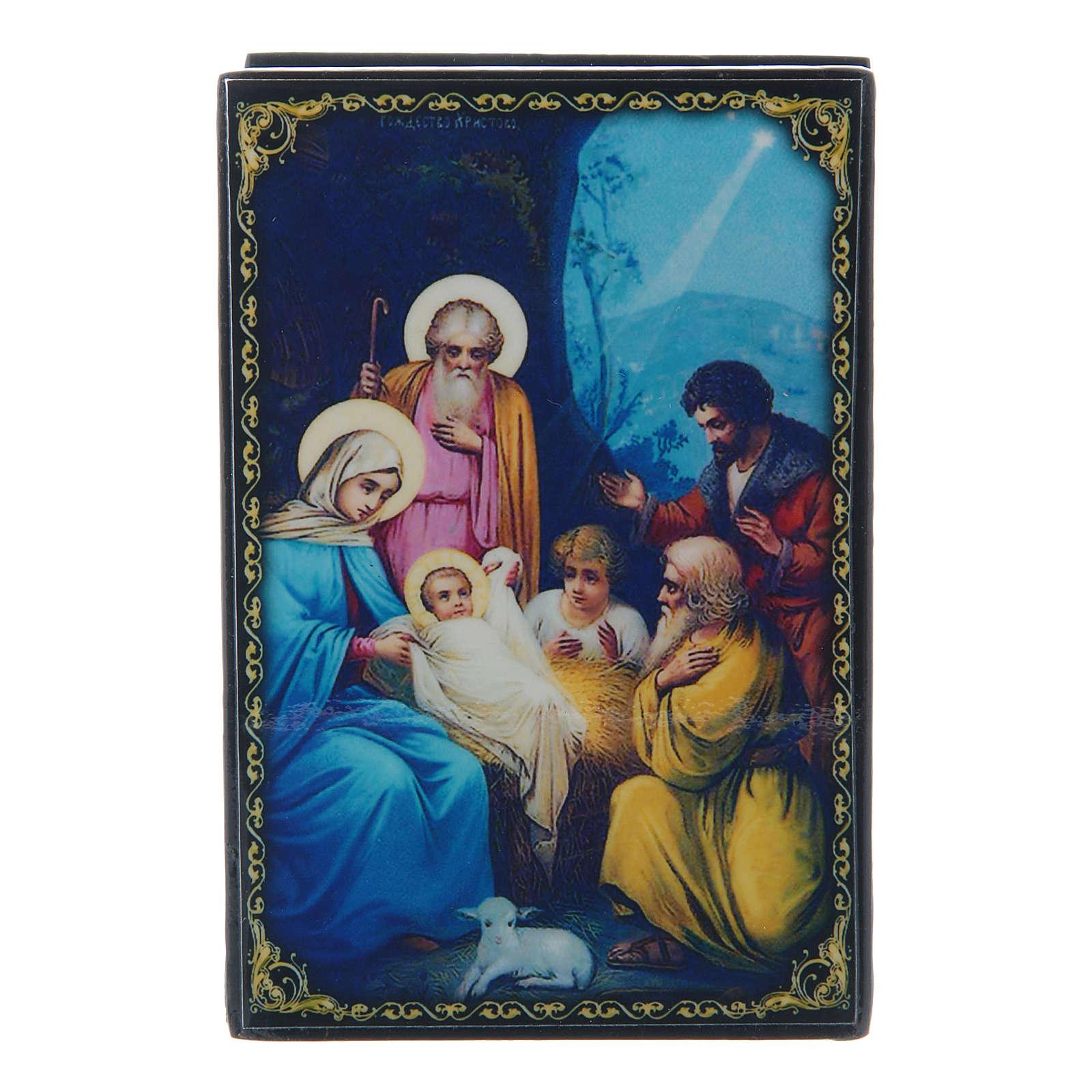 Scatoletta cartapesta russa La Nascita di Gesù Cristo 9X6 cm 4
