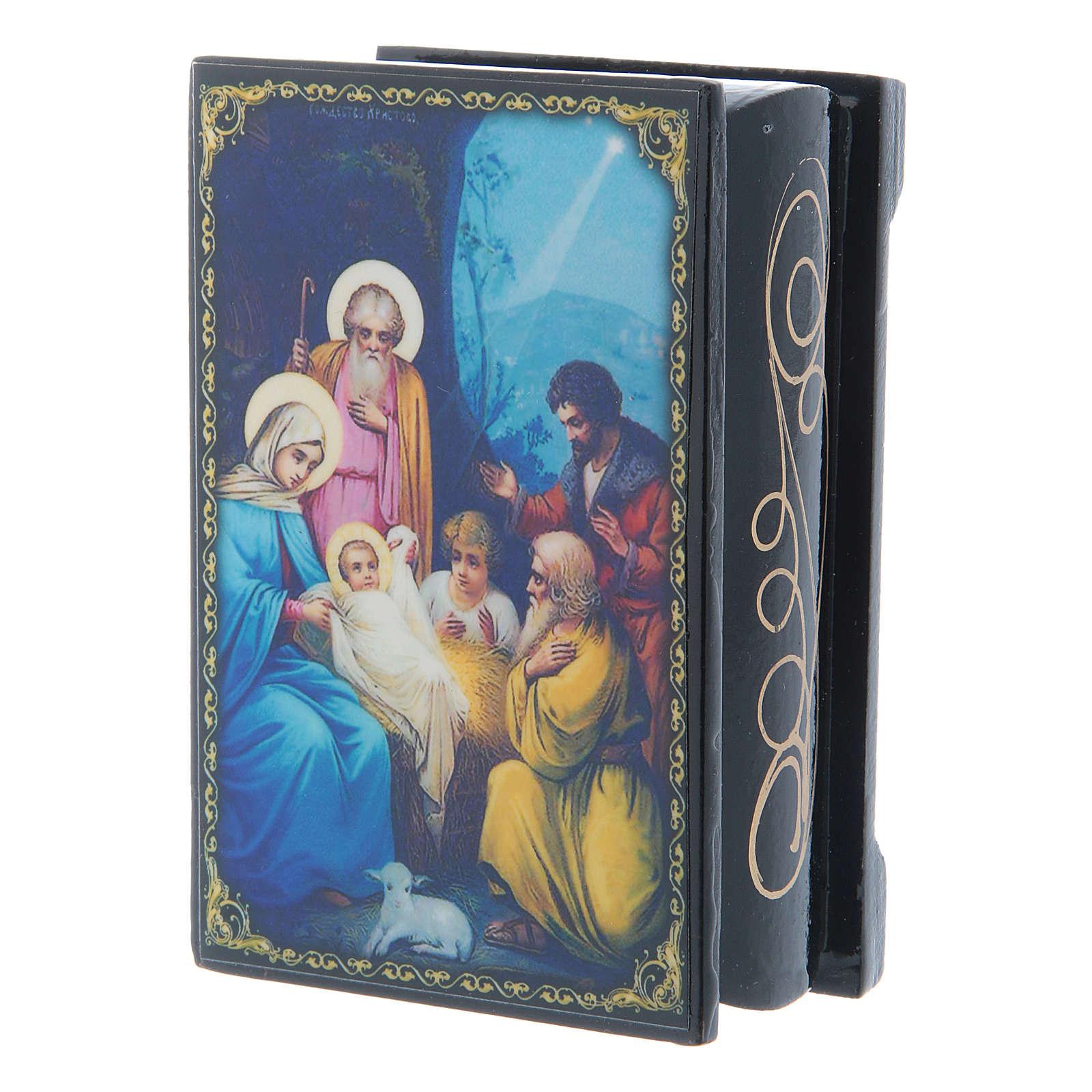 Russian papier-mâché and lacquer box The Nativity of Jesus Christ 9x6 cm 4