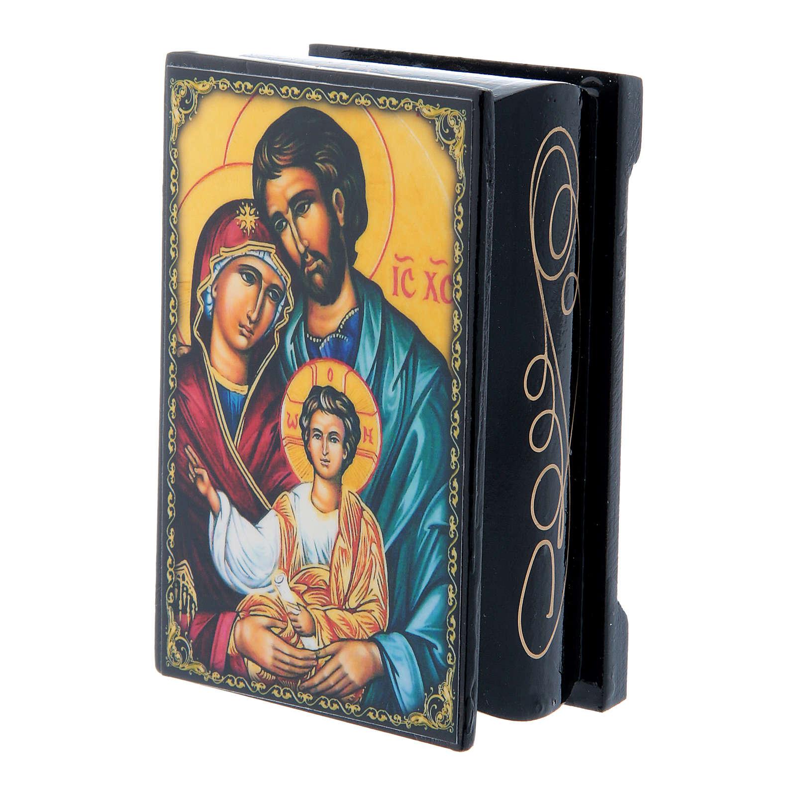 Scatola cartapesta russa Sacra Famiglia 9X6 cm 4