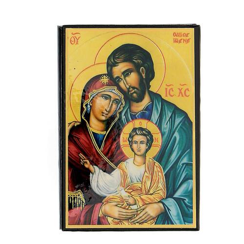 Scatola cartapesta russa Sacra Famiglia 9X6 cm 1