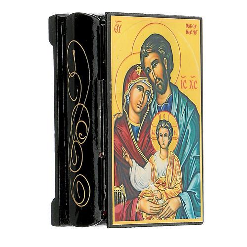 Scatola cartapesta russa Sacra Famiglia 9X6 cm 2