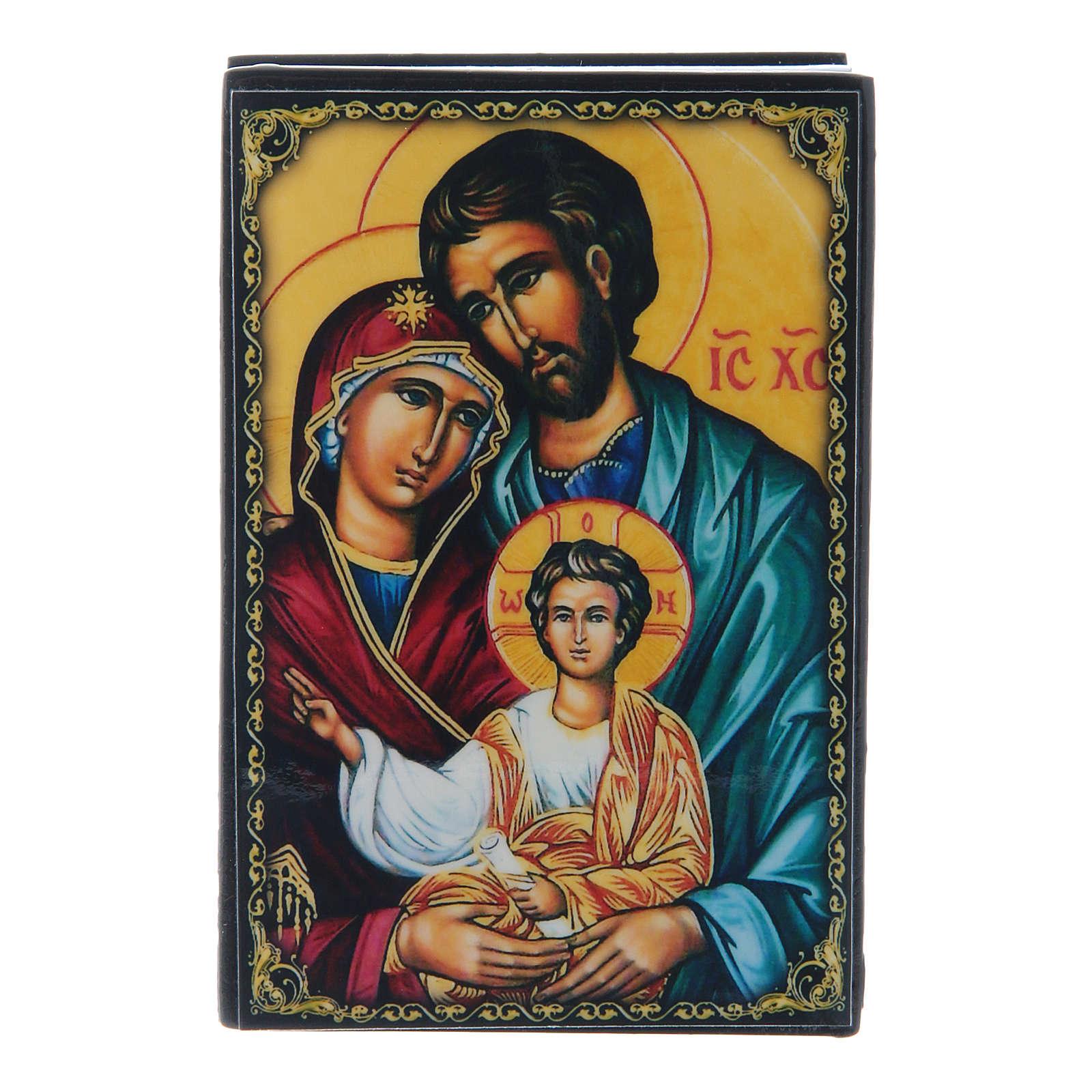 Russian papier-mâché and lacquer box Holy Family 9x6 cm 4