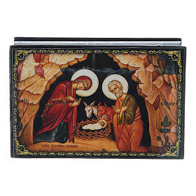Russian papier-mâché and lacquer box The Nativity of Christ 9x6 cm s4