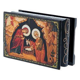 Russian papier-mâché and lacquer box The Nativity of Christ 9x6 cm s5