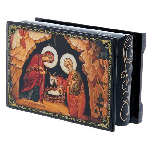 Russian papier-mâché and lacquer box The Nativity of Christ 9x6 cm 2