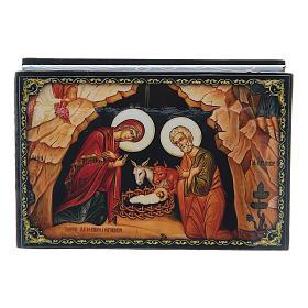 Lacca russa cartapesta La Nascita di Gesù Cristo 9X6 cm s4