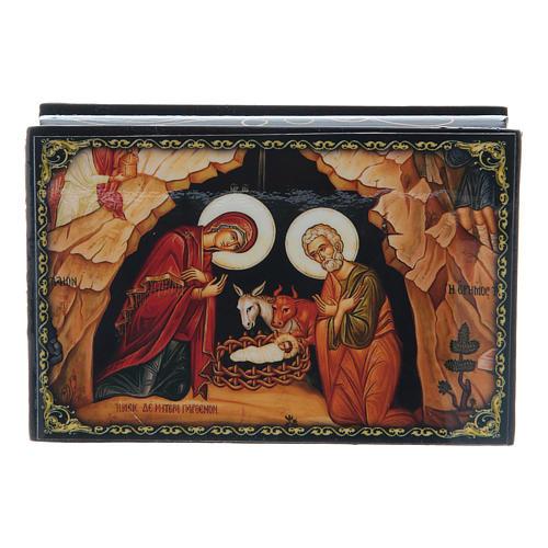 Russian papier-mâché and lacquer box The Nativity of Christ 9x6 cm 1