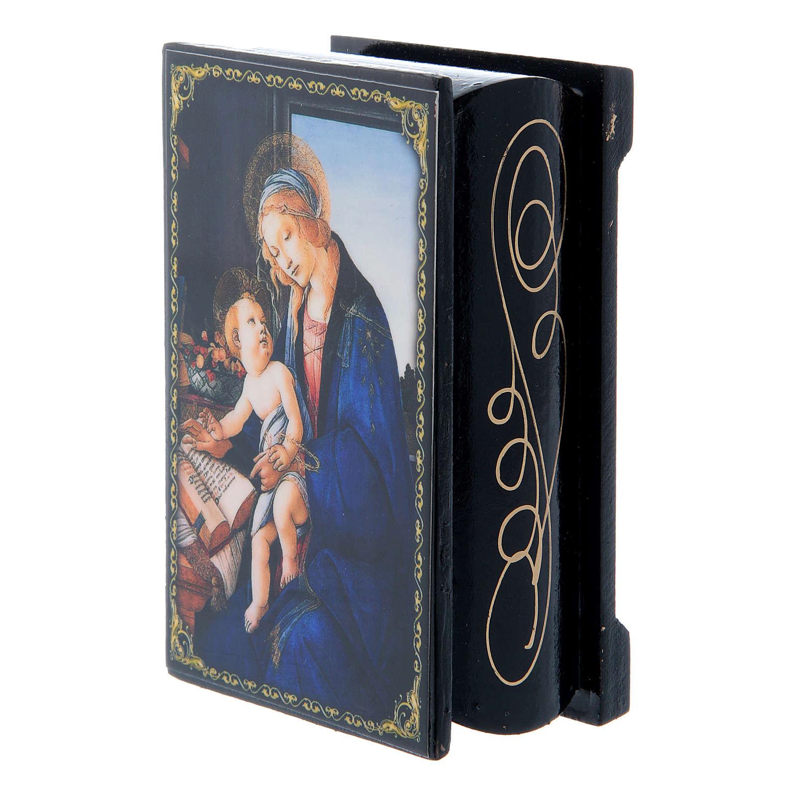 Boîte décorée russe La Madone du Livre 9x6 cm 4