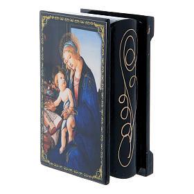 Boîte décorée russe La Madone du Livre 9x6 cm s2