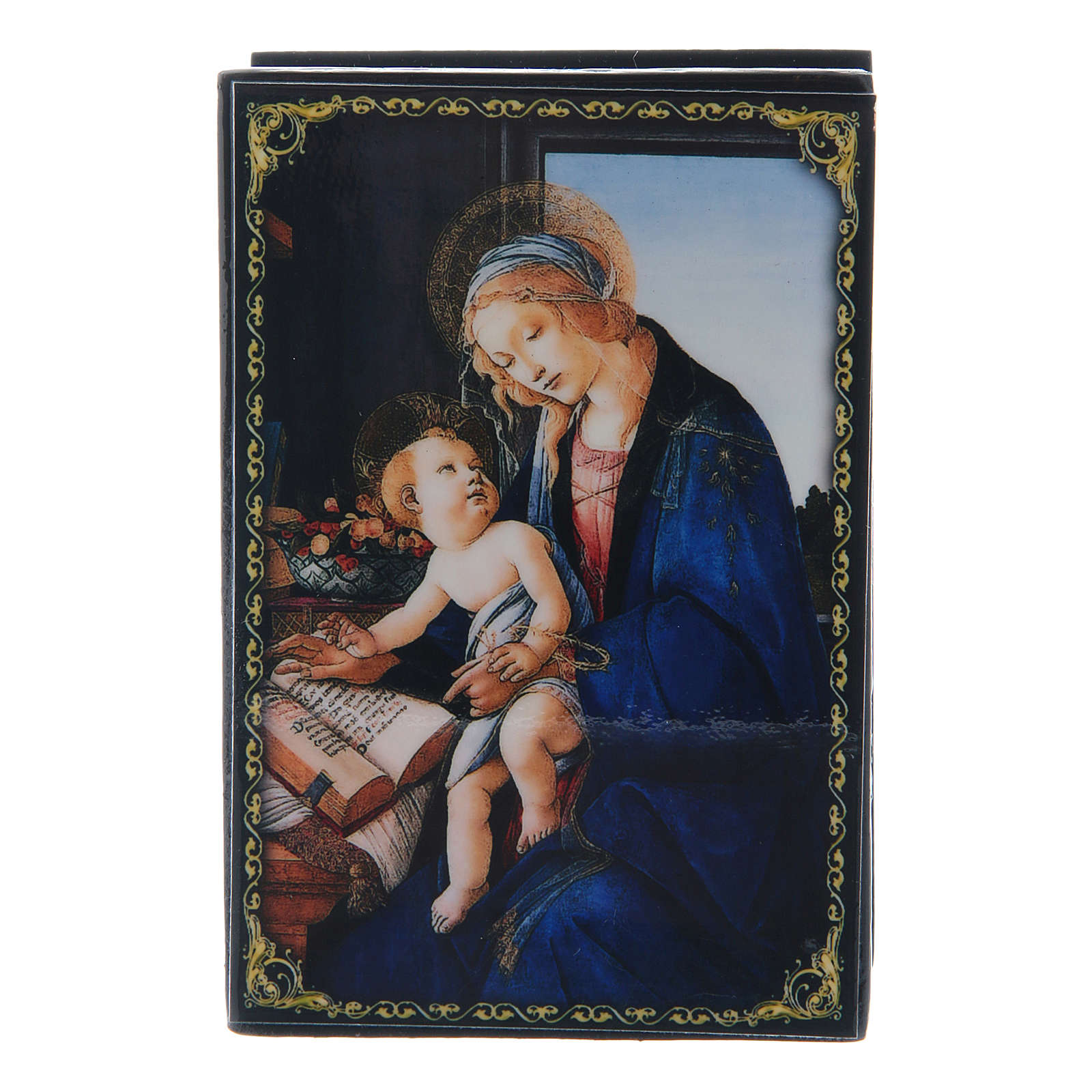 Scatola decorata russa La Madonna del Libro 9X6 cm 4