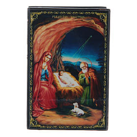 Russian papier-mâché and lacquer painted box The Nativity of Jesus Christ 9x6 cm s1