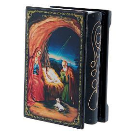 Scatoletta lacca russa La Nascita di Gesù Cristo 9X6 cm s2