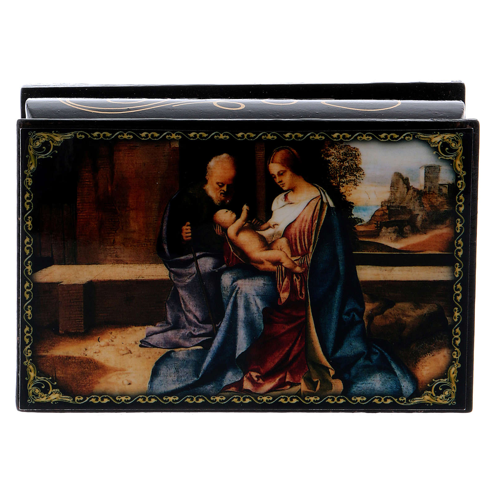 Russian papier-mâché and lacquer painted box The Birth of Jesus 9x6 cm 4