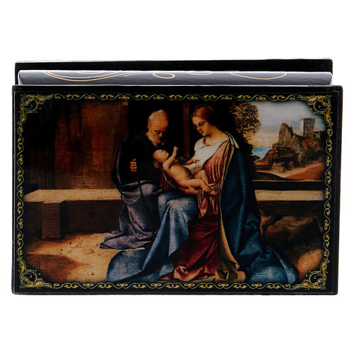 Russian papier-mâché and lacquer painted box The Birth of Jesus 9x6 cm 1