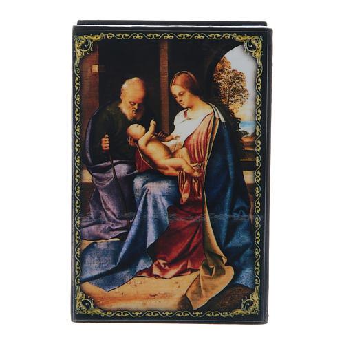 Scatola decorata papier machè La Nascita di Gesù Cristo 9X6 cm 1