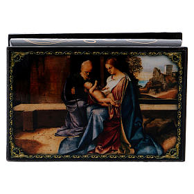 Russian lacquer boxes: Russian papier-mâché and lacquer painted box The Birth of Jesus 9x6 cm