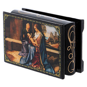 Russian papier-mâché and lacquer painted box The Birth of Jesus 9x6 cm s2