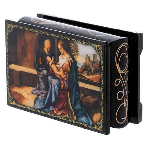 Russian papier-mâché and lacquer painted box The Birth of Jesus 9x6 cm 2