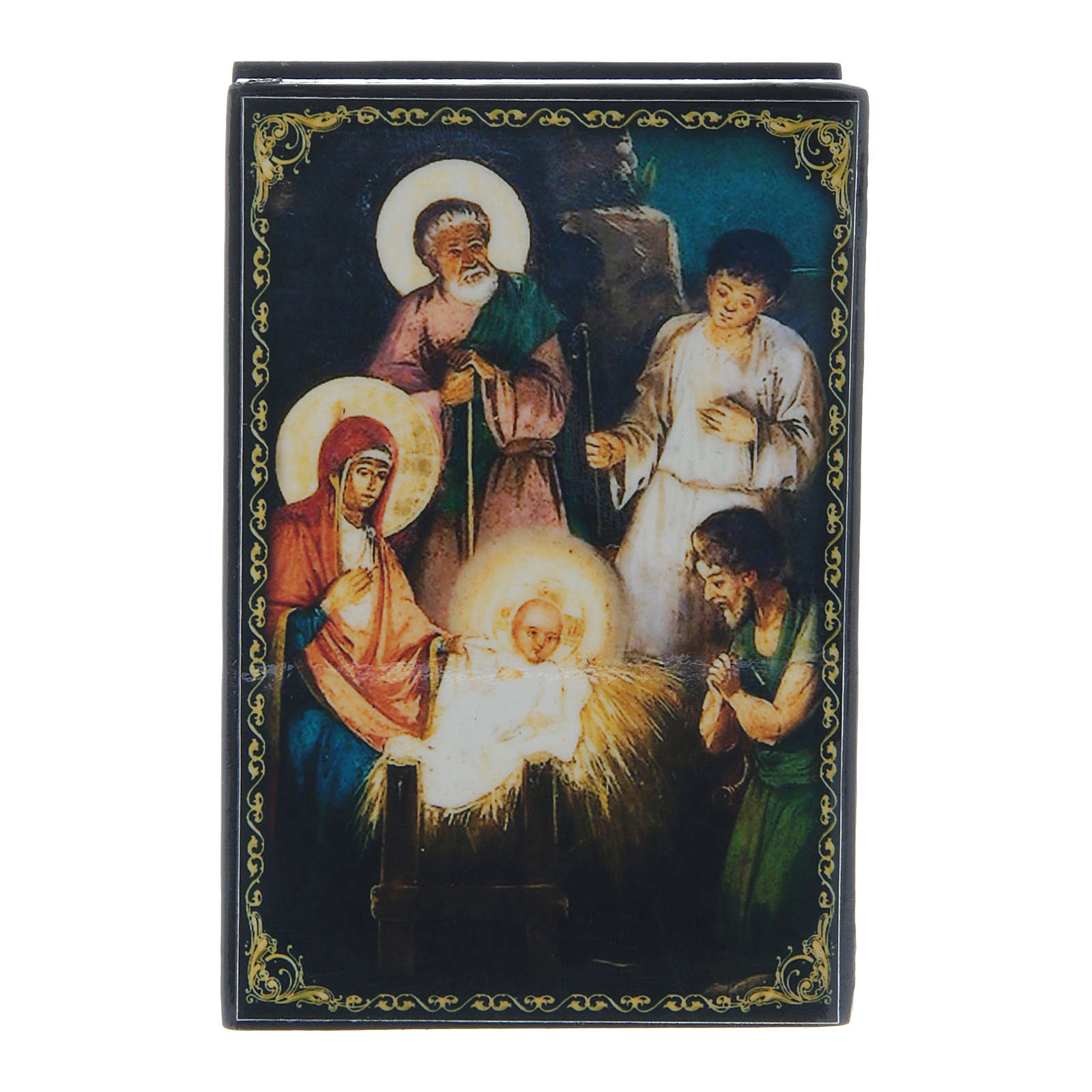 Russian papier-mâché and lacquer painted box The Birth of Jesus Christ 9x6 cm 4