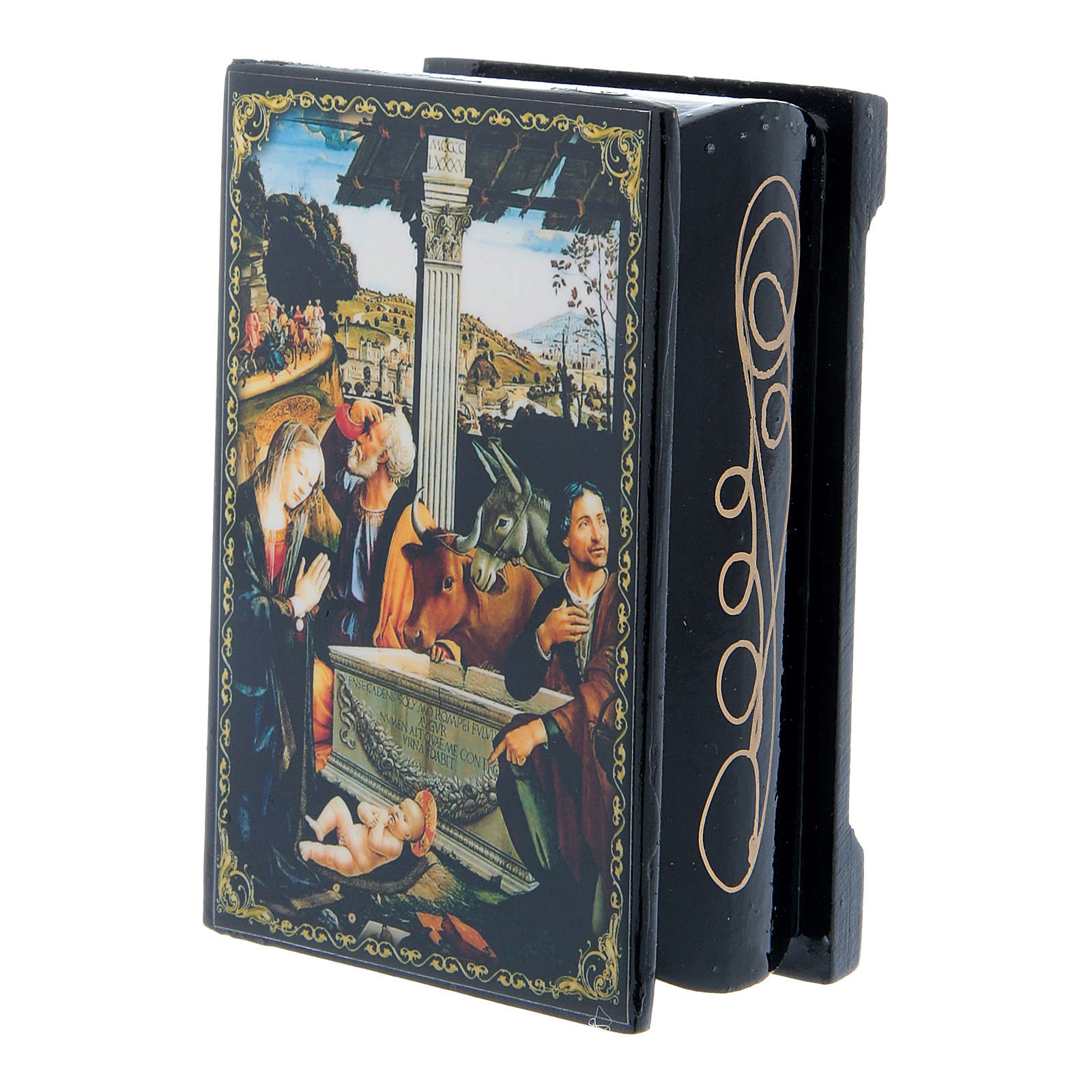 Scatoletta lacca russa L'Adorazione dei Pastori 9X6 cm 4