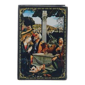 Scatoletta lacca russa L'Adorazione dei Pastori 9X6 cm s1