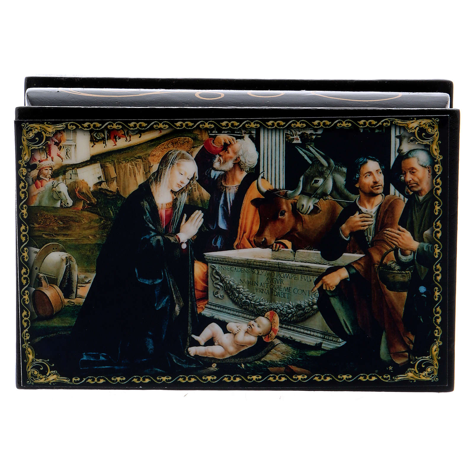Russian papier-mâché and lacquer painted box Adoration of the Shepherds 9x6 cm 4