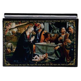 Russian papier-mâché and lacquer painted box Adoration of the Shepherds 9x6 cm s1