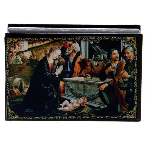 Russian papier-mâché and lacquer painted box Adoration of the Shepherds 9x6 cm 1