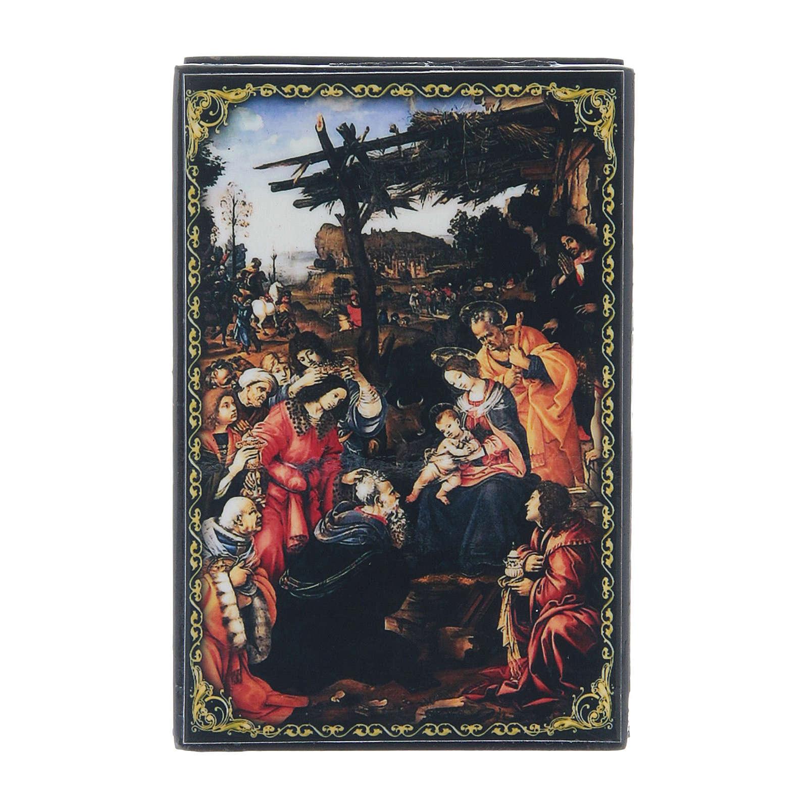 Scatola russa decorata papier machè L'Adorazione dei Magi 9X6 cm 4