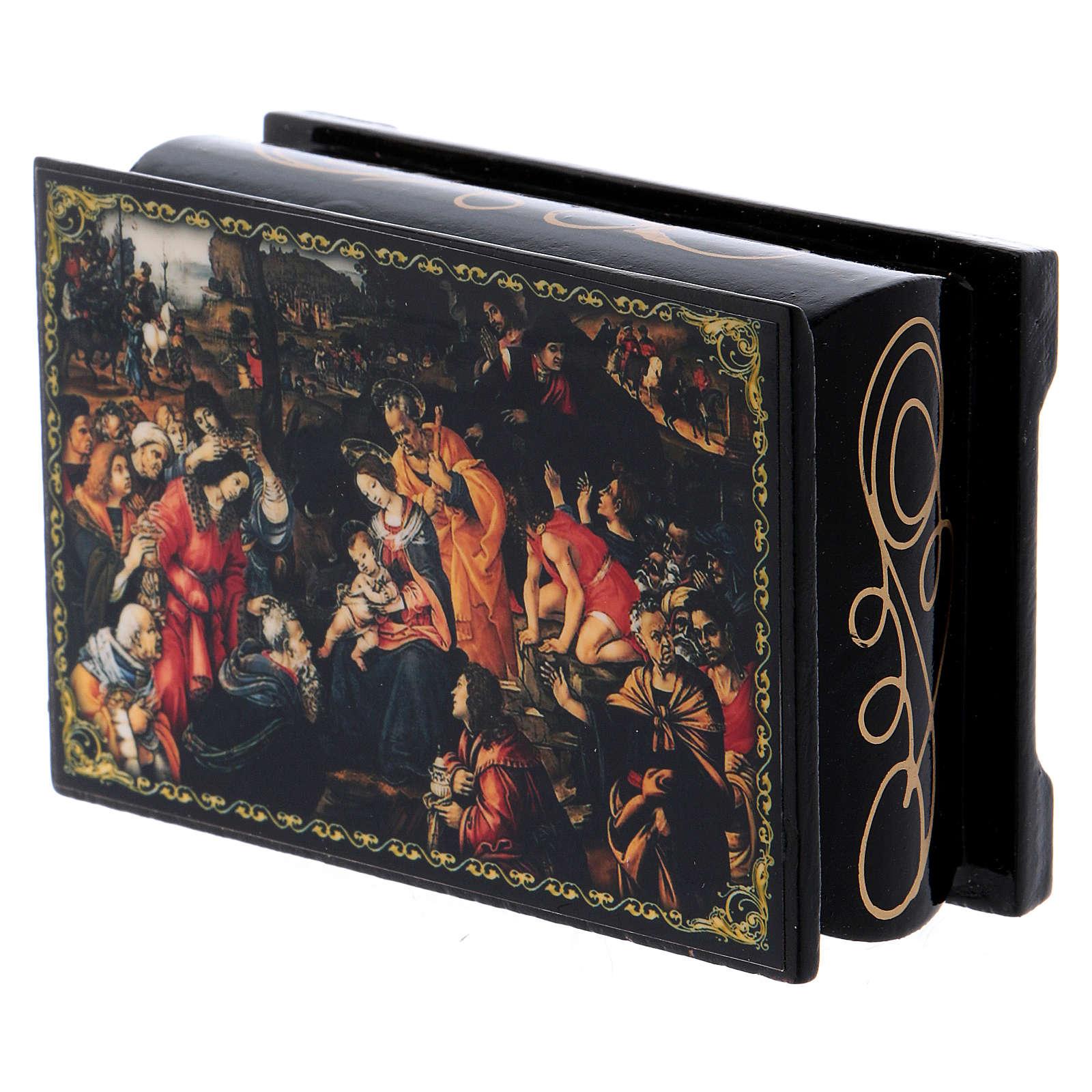 Caixa russa decorada papel-machê Adoração dos Magos 9x6 cm 4