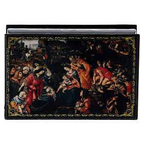 Caixa russa decorada papel-machê Adoração dos Magos 9x6 cm s1