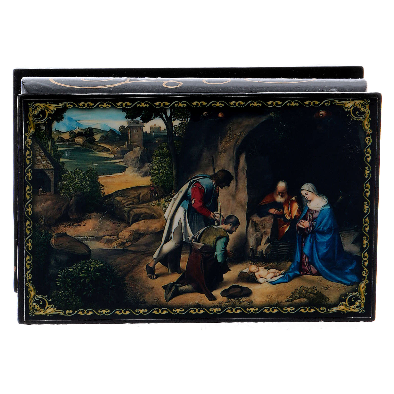 Russian papier-mâché and lacquer box The Adoration of the Shepherds 9x6 cm 4