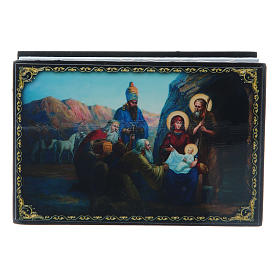 Russian papier-mâché and lacquer box The Birth of Jesus Christ and the Adoration of the Three Wise Men 9x6 cm s1