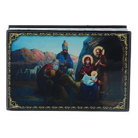 Scatoletta lacca russa La Nascita di Gesù Cristo 9X6 cm s1