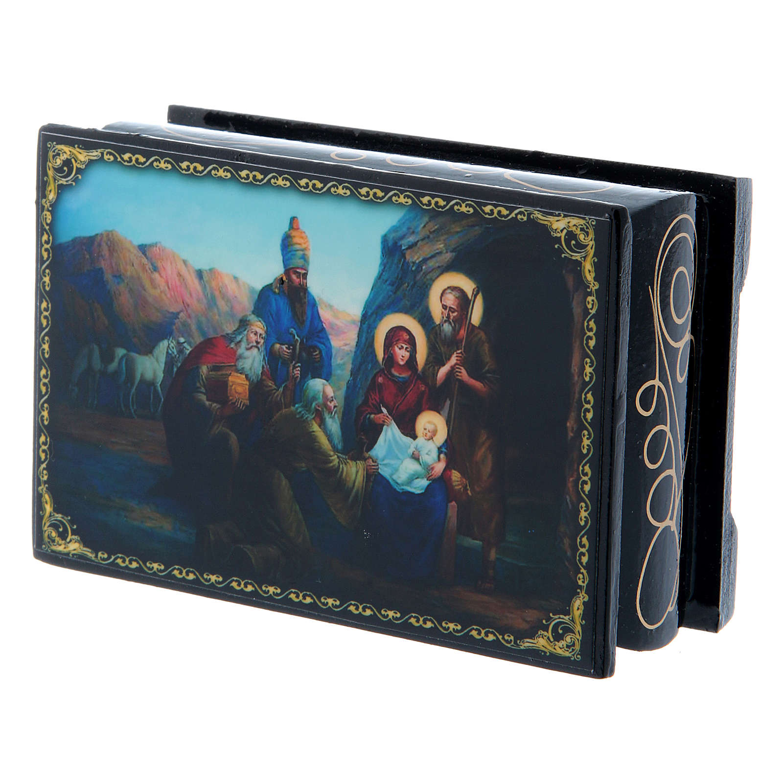 Russian papier-mâché and lacquer box The Birth of Jesus Christ and the Adoration of the Three Wise Men 9x6 cm 4