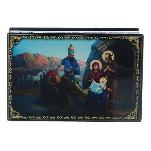 Russian papier-mâché and lacquer box The Birth of Jesus Christ and the Adoration of the Three Wise Men 9x6 cm 1