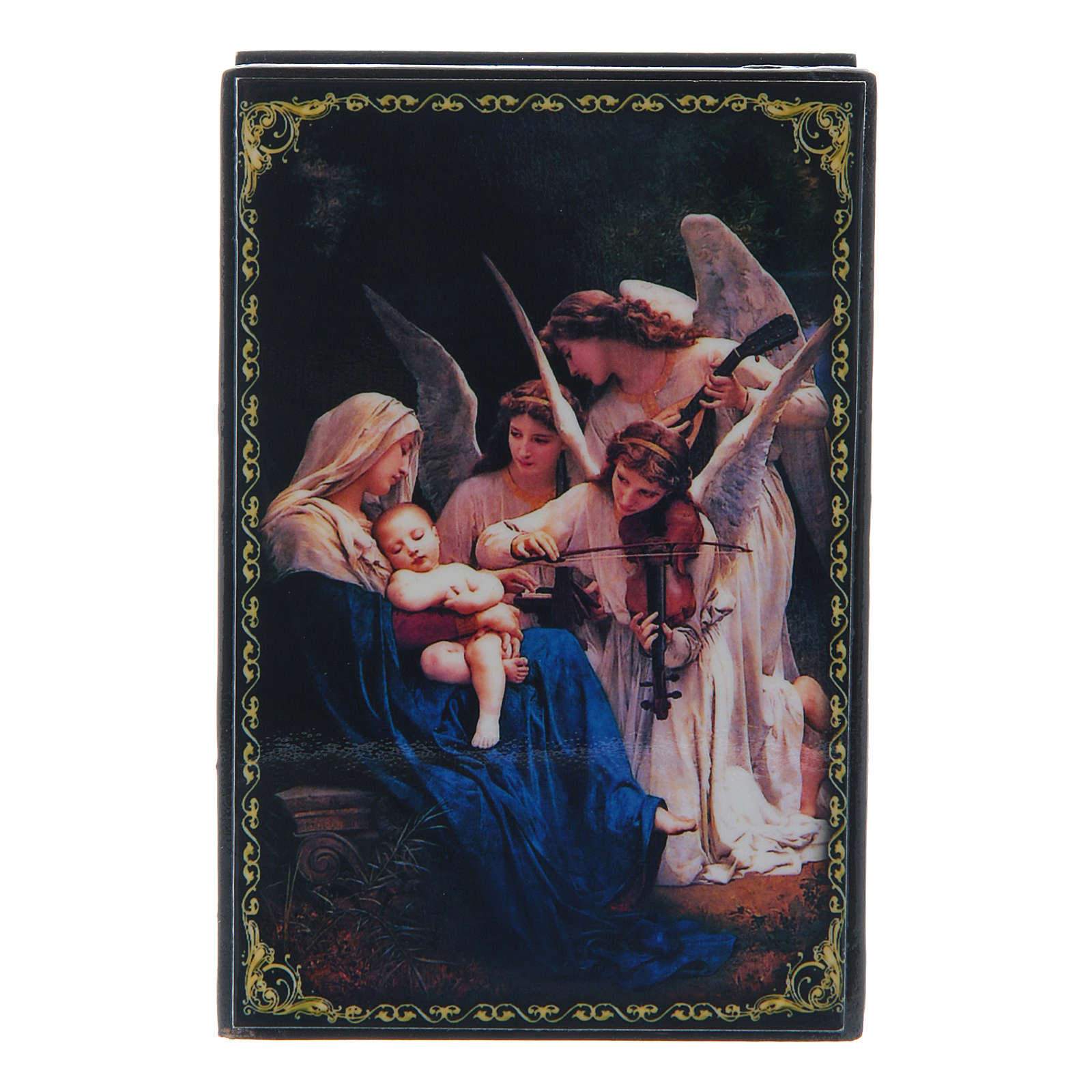 Russian lacquer box, Song of the Angels 9x6 cm 4