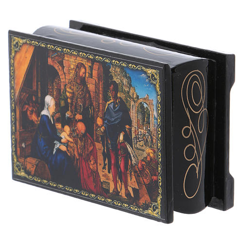 Russian lacquer box, Adoration of the Magi 9x6 cm 2