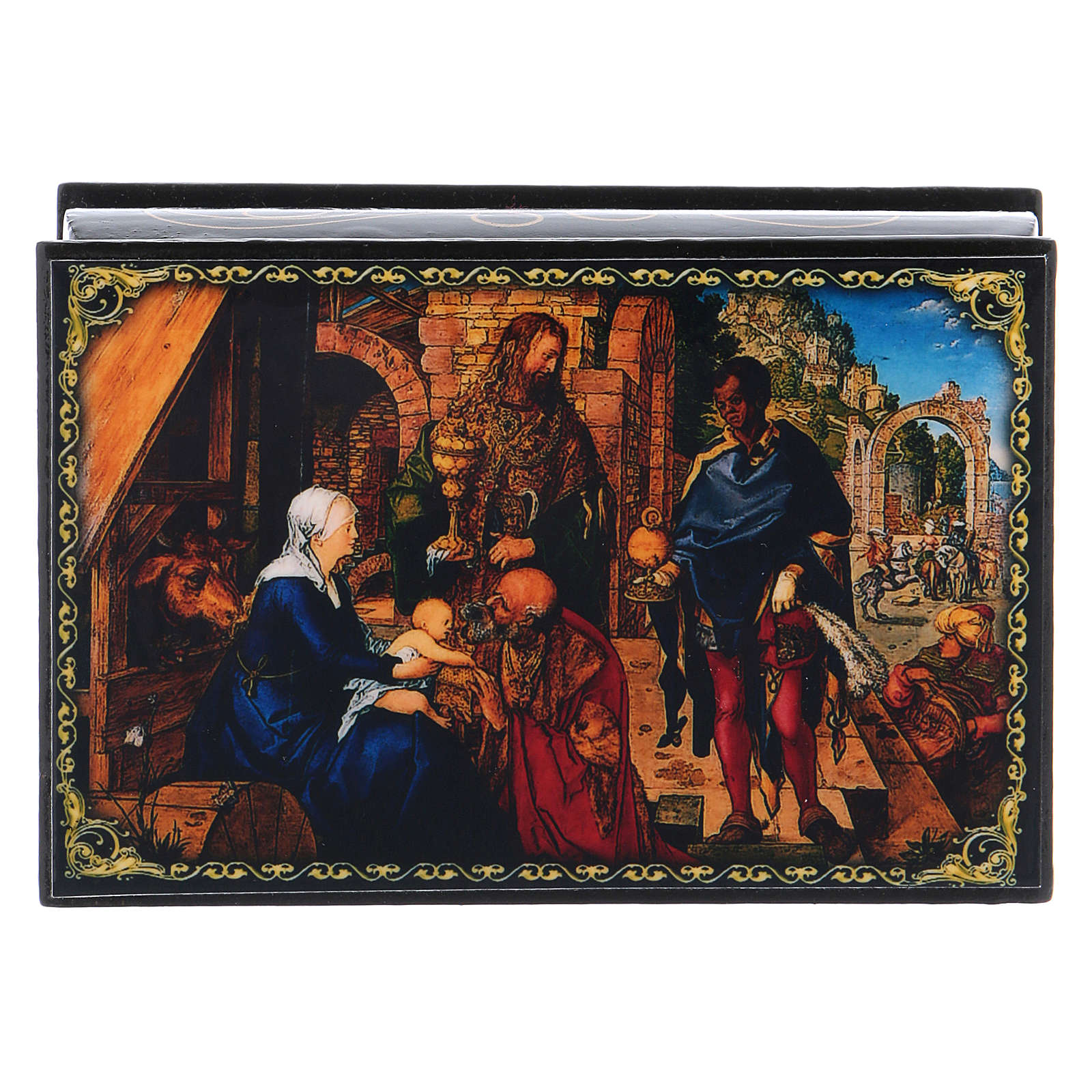 Scatoletta russa cartapesta L'Adorazione dei Magi 9X6 cm 4